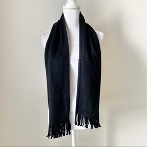 St.John's Bay black fleece scarf with fringe